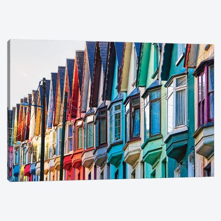 Colorful Street, Cobh, Republic Of Ireland Canvas Print #GOZ396} by George Oze Canvas Wall Art