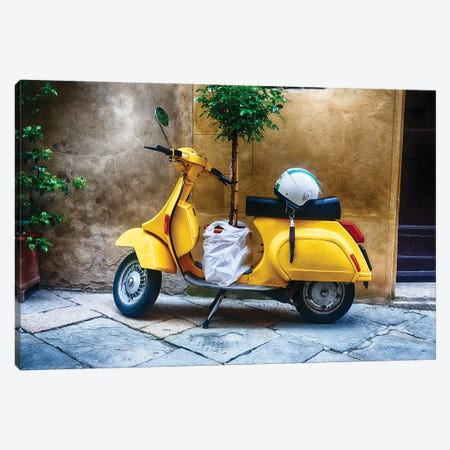 Vintage Scooter With A Small Tree Parked Along A House, Pienza, Tuscany, Italy Canvas Print #GOZ398} by George Oze Canvas Print