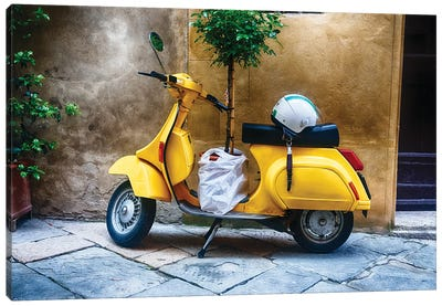 Vintage Scooter With A Small Tree Parked Along A House, Pienza, Tuscany, Italy Canvas Art Print