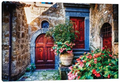 Classic House Entrance in Umbria, Italy Canvas Art Print