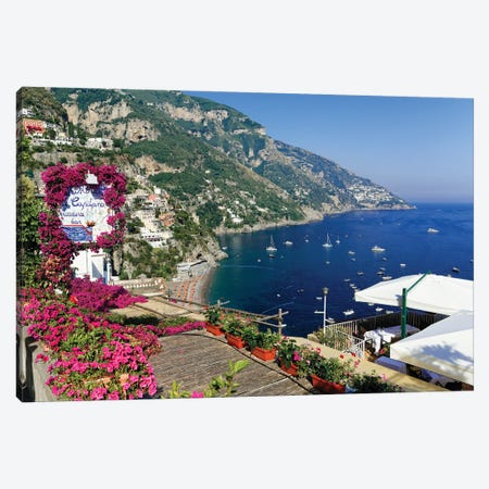 High Angle View Of A Beach And Coast From A Hillside Terrace, Positano, Campania, Italy Canvas Print #GOZ400} by George Oze Art Print