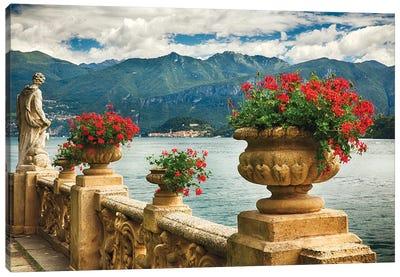 Balustrade With Lake View, Villa Balbienello, Lenno, Lake Como, Lombardy, Italy Canvas Art Print