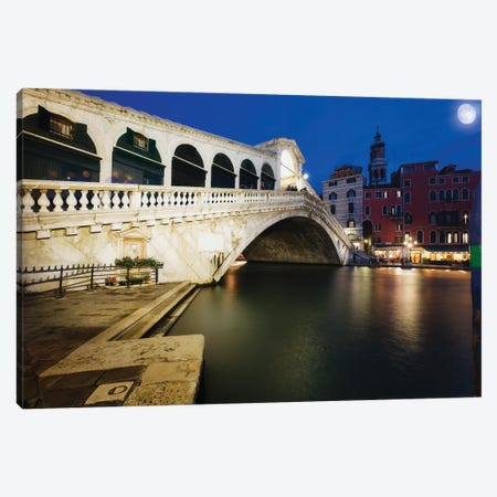 Rialto Bridge At Night, Venice, Italy Canvas Print #GOZ402} by George Oze Canvas Art Print