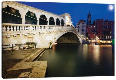 Rialto Bridge At Night, Venice, Italy Canvas Art Print