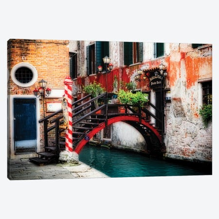 Little Bridge In Rialto, Venice, Veneto, Italy Canvas Print #GOZ403} by George Oze Canvas Print