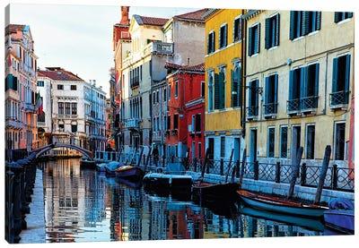 Colorful Houses Along A Canal Santa Croce, Venice Veneto, Italy Canvas Art Print