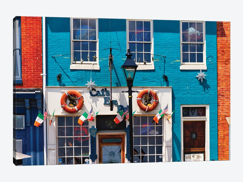Colorful Pub Front At Fell's Point , Baltimore, Maryland by George Oze 1-piece Canvas Art Print