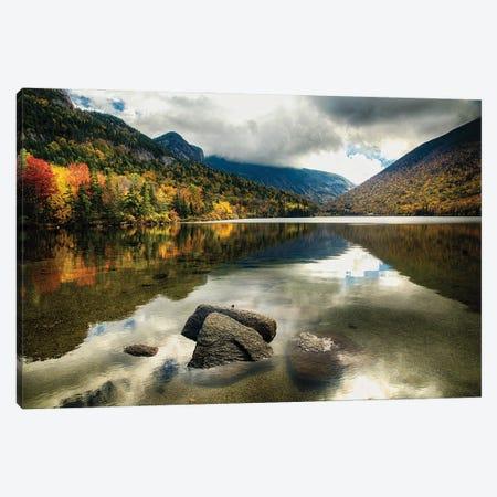 Pristine Mountain Lake During Fall Season, Echo Lake, Franconia, New Hampshire Canvas Print #GOZ408} by George Oze Art Print
