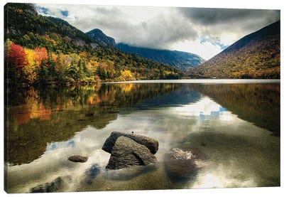 Pristine Mountain Lake During Fall Season, Echo Lake, Franconia, New Hampshire Canvas Art Print