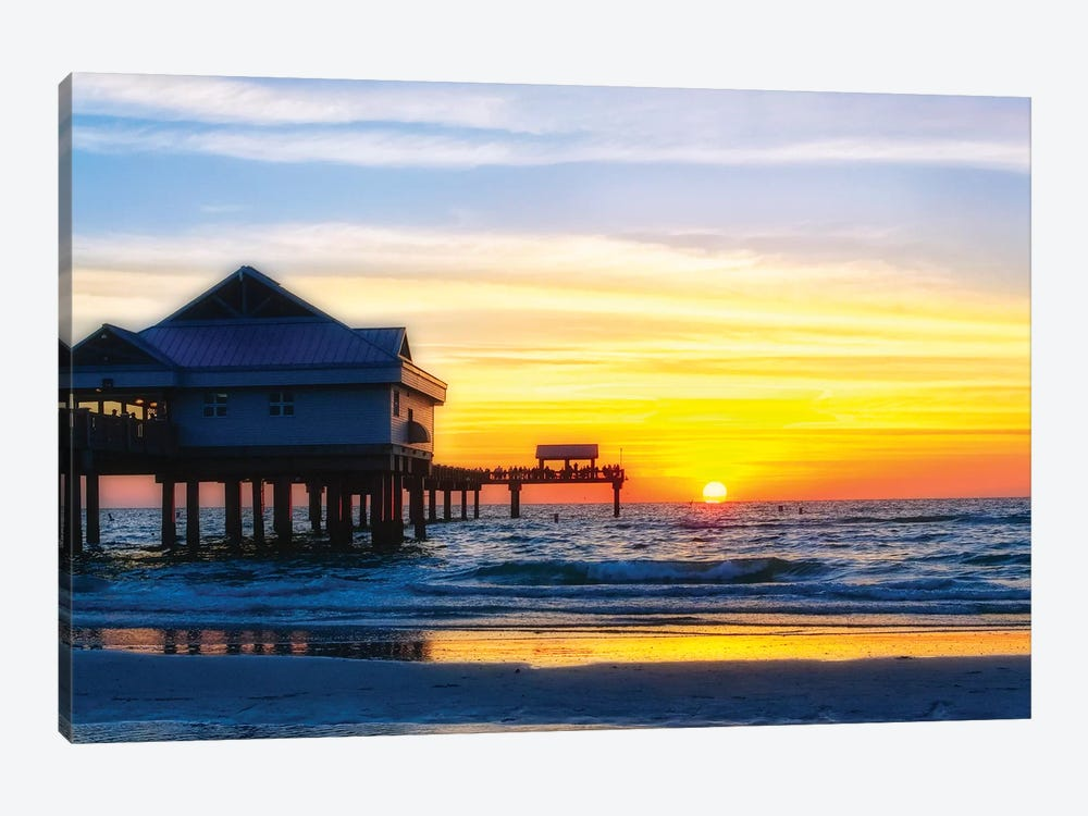 Clearwater Beach Sunset over the Pier, Florida by George Oze 1-piece Canvas Print