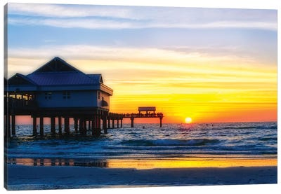 Clearwater Beach Sunset over the Pier, Florida Canvas Art Print