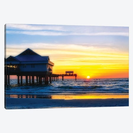 Clearwater Beach Sunset over the Pier, Florida Canvas Print #GOZ40} by George Oze Art Print