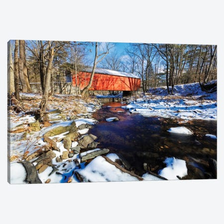 Covered Bridge Over The Cabin Run Creek During Winter, Pennsylavania Canvas Print #GOZ411} by George Oze Canvas Art