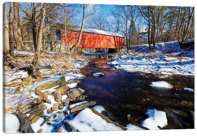 Covered Bridge Over The Cabin Run Creek During Winter, Pennsylavania Canvas Art Print