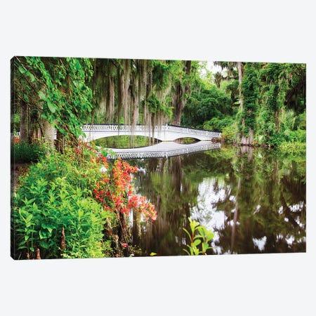 Little White Wooden Footbridge In A Lake, Magnolia Plantation, Charleston, South Carolina Canvas Print #GOZ412} by George Oze Canvas Art