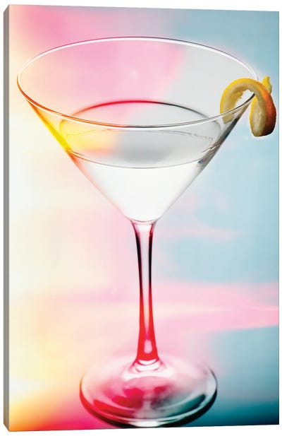 Glass of Martini with a Twist with Smooth Colors Canvas Art Print