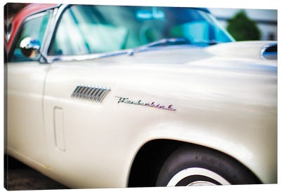 Fender with Scripts of a Classic Ford Thunderbird Automobile Canvas Art Print
