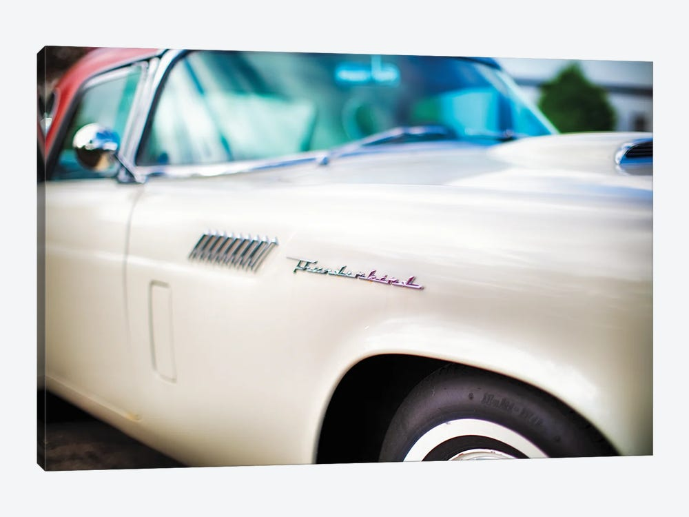 Fender with Scripts of a Classic Ford Thunderbird Automobile by George Oze 1-piece Canvas Art Print