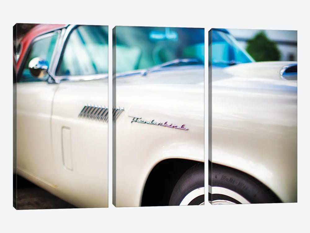 Fender with Scripts of a Classic Ford Thunderbird Automobile by George Oze 3-piece Canvas Print