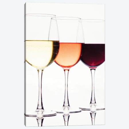 Three Glassess Of Different Wines Canvas Print #GOZ419} by George Oze Canvas Art