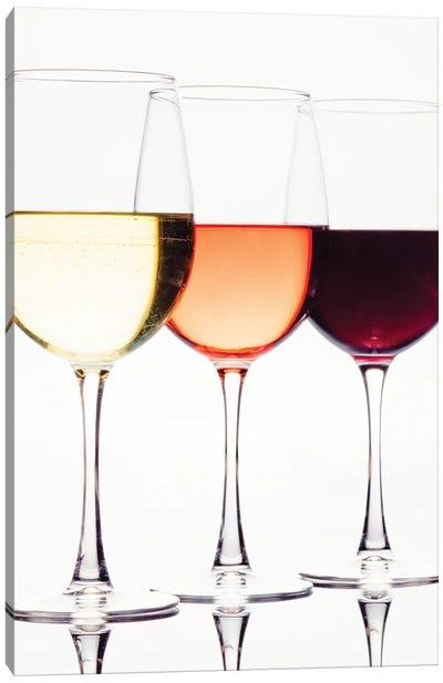 Three Glassess Of Different Wines Canvas Art Print