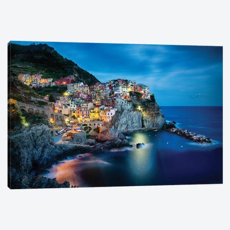 Cliffside Town at Night, Manarola, Liguria, Italy. Canvas Print #GOZ41} by George Oze Canvas Print