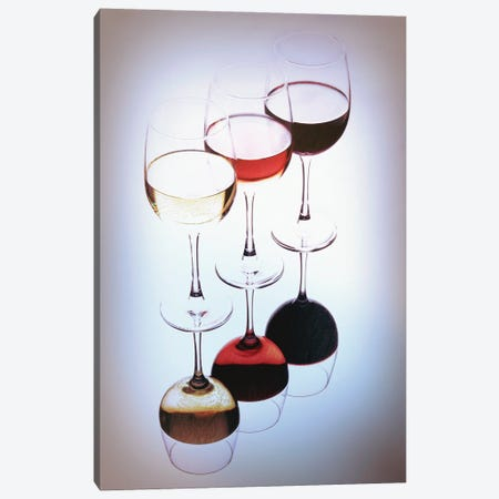 Three Glasses Of Wine, White, Rose And Red Canvas Print #GOZ420} by George Oze Art Print