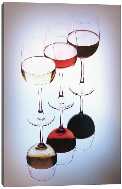 Three Glasses Of Wine, White, Rose And Red Canvas Art Print
