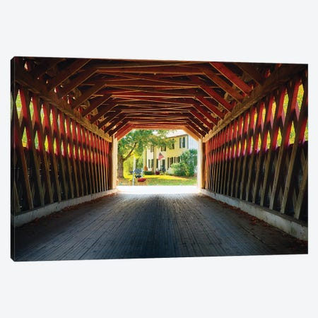 View Trough A Covered Bridge, North Bennington, Vermont Canvas Print #GOZ422} by George Oze Canvas Art Print