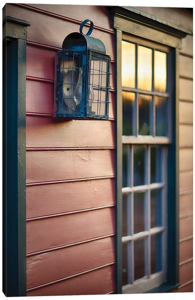Sunset Reflections On The Window Of An Old Colonial Era House, New Jersey, Usa Canvas Art Print
