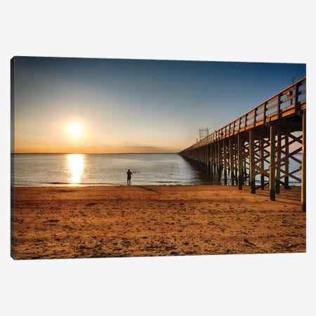 Wooden Pier Perspective At Sunset, Keansburg, New Jersey Canvas Print #GOZ430} by George Oze Canvas Art
