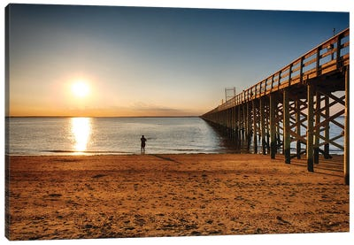 Wooden Pier Perspective At Sunset, Keansburg, New Jersey Canvas Art Print