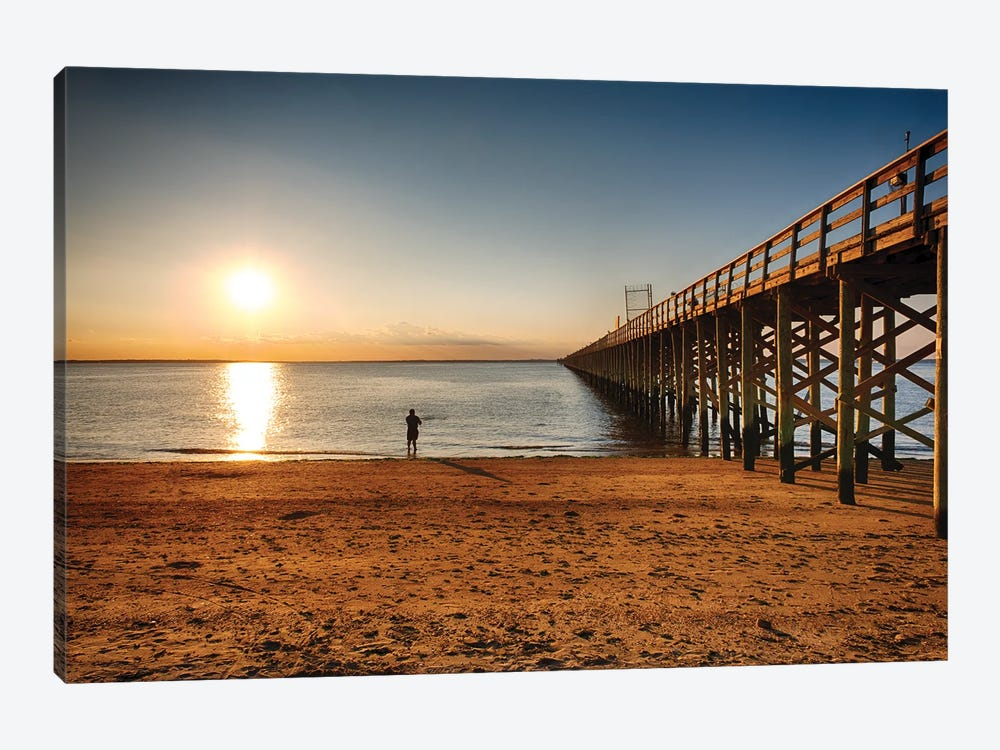 Wooden Pier Perspective At Sunset, Keansburg, New Jersey by George Oze 1-piece Art Print