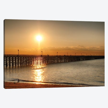 Golden Sunlight Over A Wooden Pier, Keansburg, New Jersey Canvas Print #GOZ431} by George Oze Canvas Art