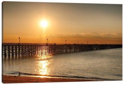 Golden Sunlight Over A Wooden Pier, Keansburg, New Jersey Canvas Art Print