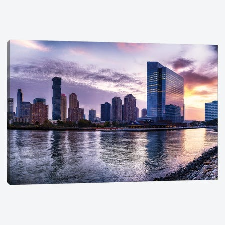 Newport Skyline In Jersey City At Sunset Canvas Print #GOZ432} by George Oze Canvas Art