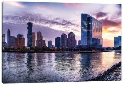 Newport Skyline In Jersey City At Sunset Canvas Art Print