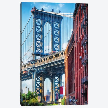 Street View Of The Manhattan Bridge Brooklyn Tower, New York City Canvas Print #GOZ433} by George Oze Canvas Art