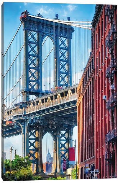 Street View Of The Manhattan Bridge Brooklyn Tower, New York City Canvas Art Print