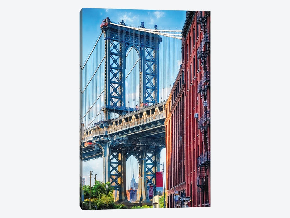 Street View Of The Manhattan Bridge Brooklyn Tower, New York City by George Oze 1-piece Canvas Artwork