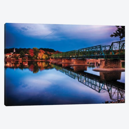 Evening At The New Hope-Lambertville Bridge Canvas Print #GOZ436} by George Oze Canvas Art Print