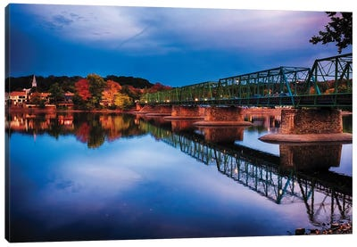 Evening At The New Hope-Lambertville Bridge Canvas Art Print