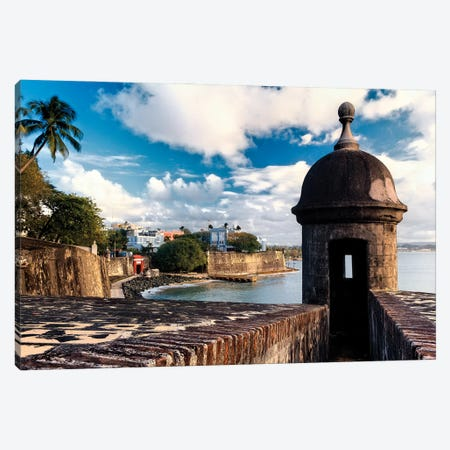 View Of The Walls Of Old San Juan With A Sentry Box In The Foreground, Puerto Rico Canvas Print #GOZ437} by George Oze Canvas Print