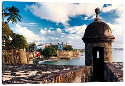 View Of The Walls Of Old San Juan With A Sentry Box In The Foreground, Puerto Rico Canvas Art Print