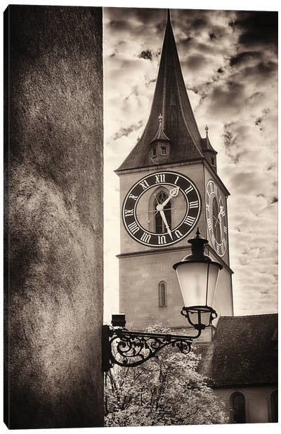 Clocktower View, St Peter's Church, Zurich, Switzerland Canvas Art Print