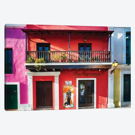 Colorful Historic Spanish Colonial Style House In Old San Juan Canvas Print #GOZ440} by George Oze Canvas Print