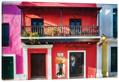 Colorful Historic Spanish Colonial Style House In Old San Juan Canvas Art Print
