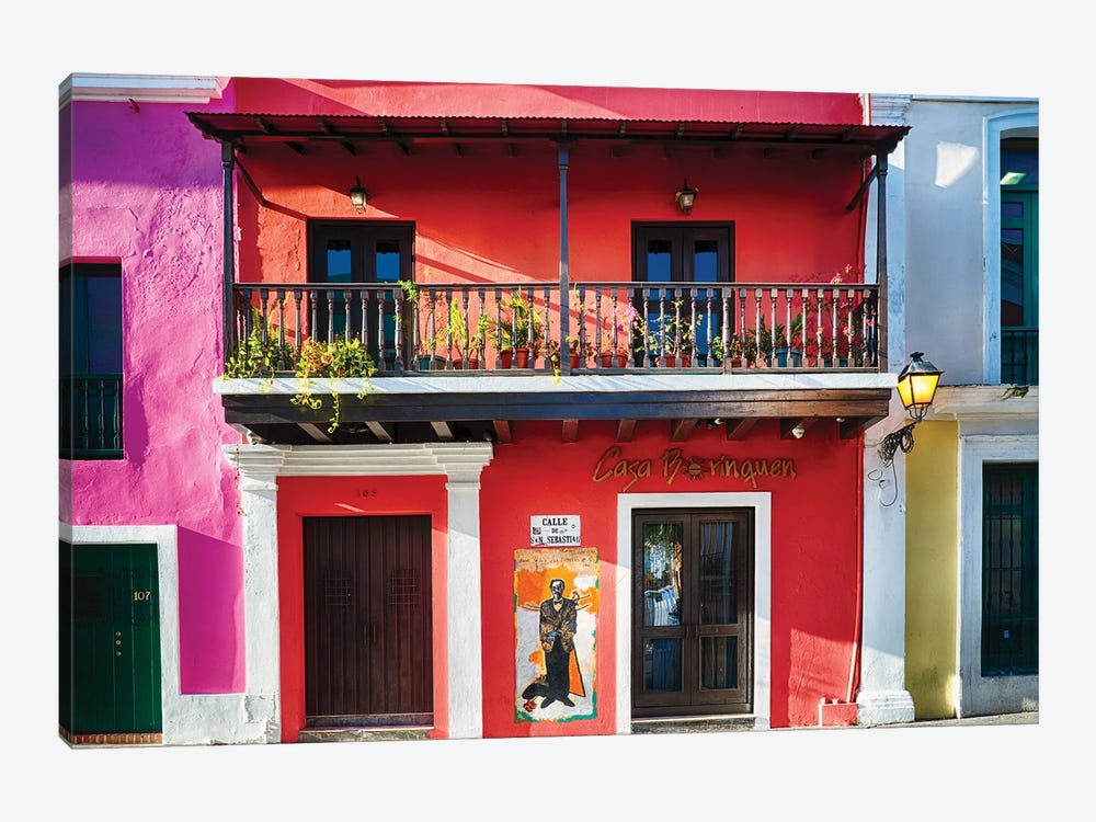 Colorful Historic Spanish Colonial Style House In Old San Juan by George Oze 1-piece Canvas Artwork