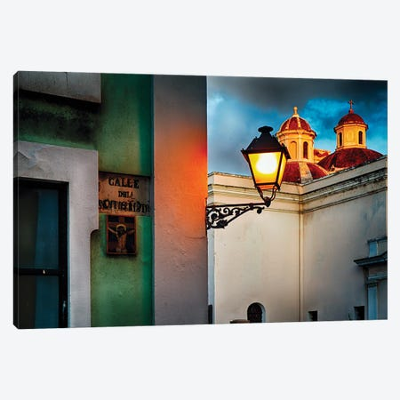 Old San Juan Street Corner With A Cathedral Canvas Print #GOZ442} by George Oze Art Print