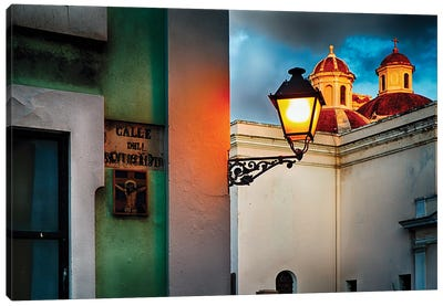 Old San Juan Street Corner With A Cathedral Canvas Art Print